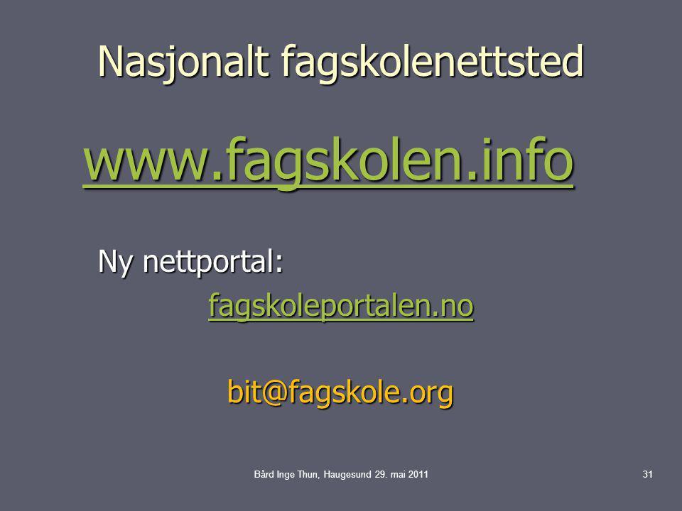 Nasjonalt fagskolenettsted www.fagskolen.info www.fagskolen.infowww.fagskolen.info Ny nettportal: fagskoleportalen.no bit@fagskole.org Bård Inge Thun, Haugesund 29.