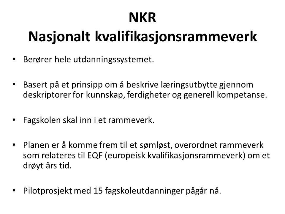 NKR Nasjonalt kvalifikasjonsrammeverk Berører hele utdanningssystemet. Basert på et prinsipp om å beskrive læringsutbytte gjennom deskriptorer for kun