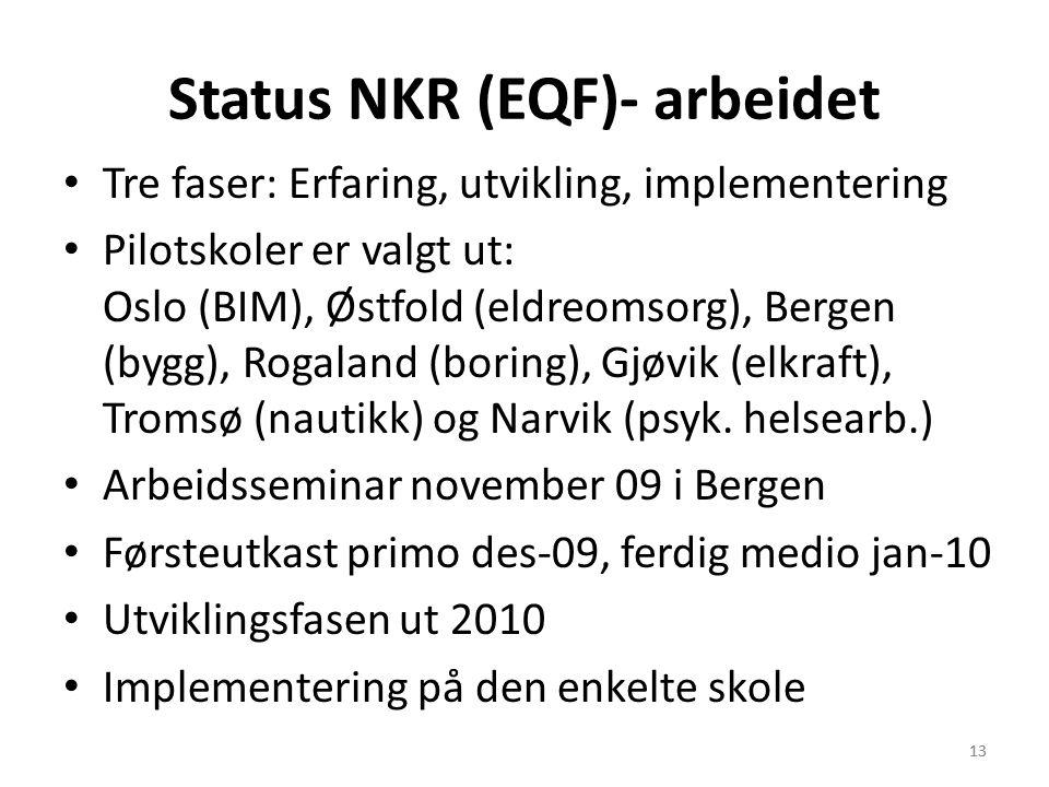 13 Status NKR (EQF)- arbeidet Tre faser: Erfaring, utvikling, implementering Pilotskoler er valgt ut: Oslo (BIM), Østfold (eldreomsorg), Bergen (bygg)