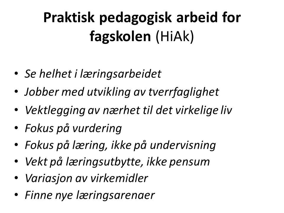 Praktisk pedagogisk arbeid for fagskolen (HiAk) Se helhet i læringsarbeidet Jobber med utvikling av tverrfaglighet Vektlegging av nærhet til det virke