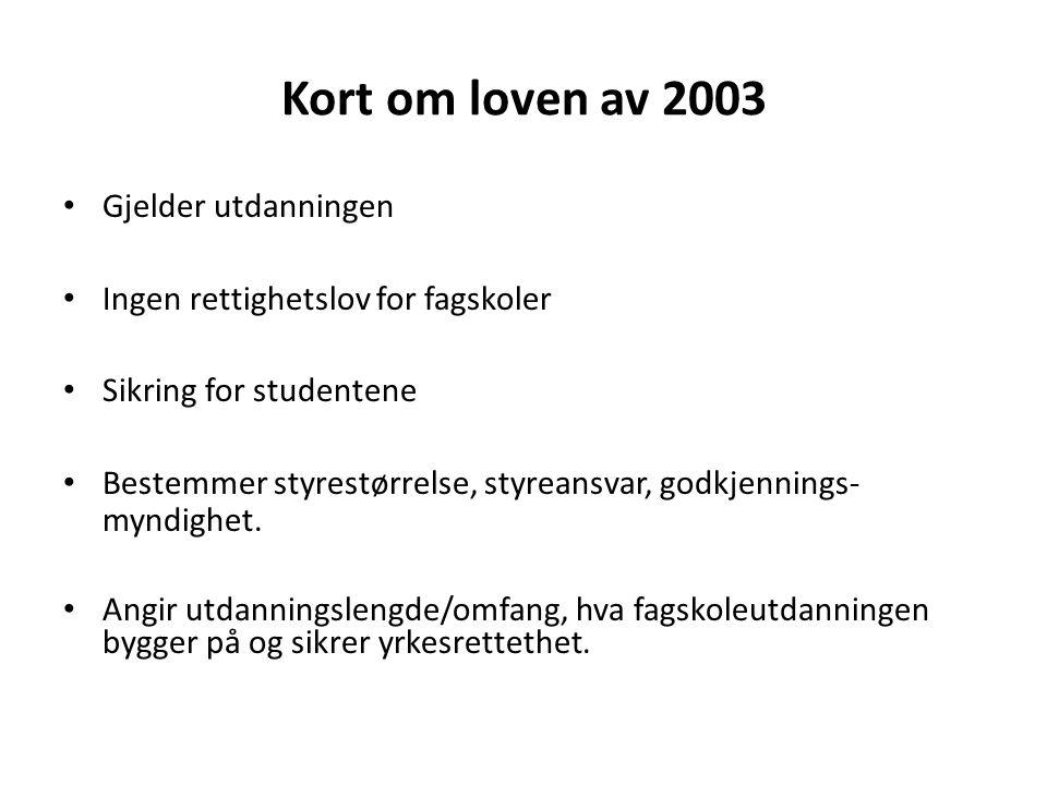 Kort om loven av 2003 Gjelder utdanningen Ingen rettighetslov for fagskoler Sikring for studentene Bestemmer styrestørrelse, styreansvar, godkjennings