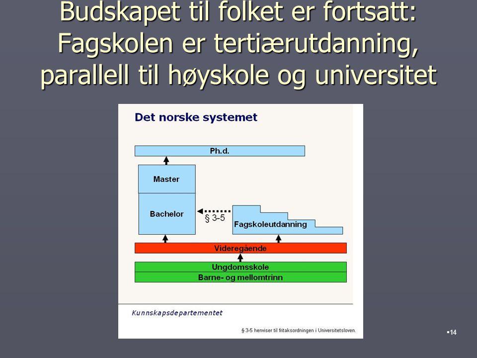 Budskapet til folket er fortsatt: Fagskolen er tertiærutdanning, parallell til høyskole og universitet  14
