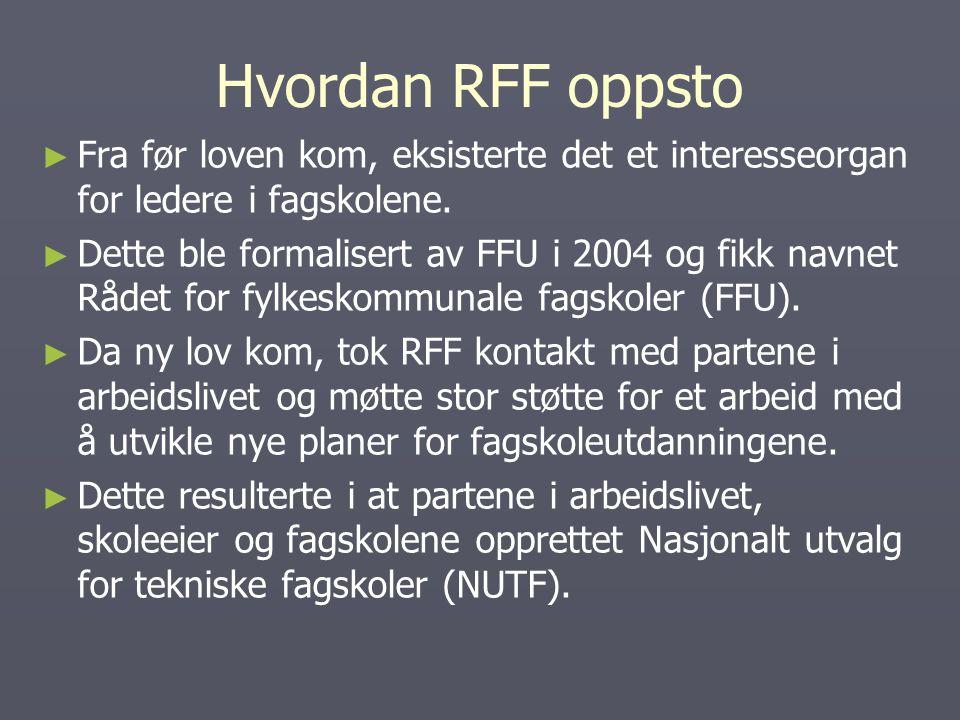 Hvordan RFF oppsto ► ► Fra før loven kom, eksisterte det et interesseorgan for ledere i fagskolene.