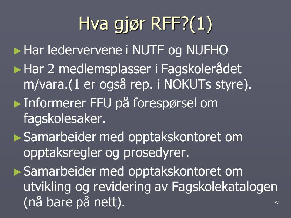 Hva gjør RFF?(1) ► ► Har ledervervene i NUTF og NUFHO ► ► Har 2 medlemsplasser i Fagskolerådet m/vara.(1 er også rep.