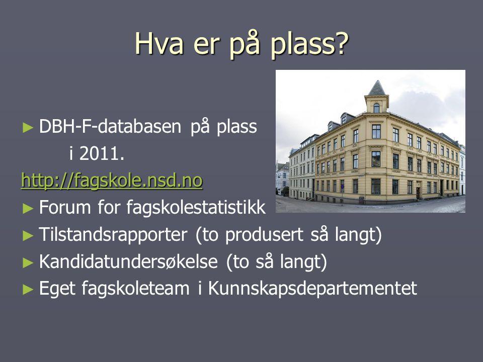 Hva er på plass. ► ► DBH-F-databasen på plass i 2011.