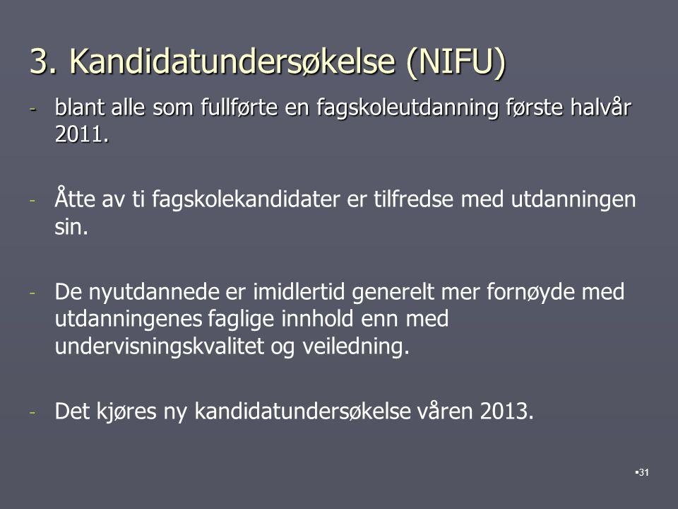 3.Kandidatundersøkelse (NIFU) - blant alle som fullførte en fagskoleutdanning første halvår 2011.