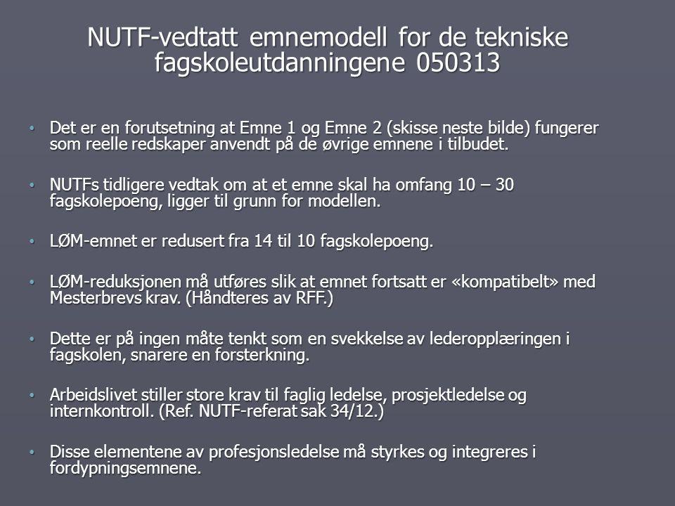 NUTF-vedtatt emnemodell for de tekniske fagskoleutdanningene 050313 Det er en forutsetning at Emne 1 og Emne 2 (skisse neste bilde) fungerer som reell