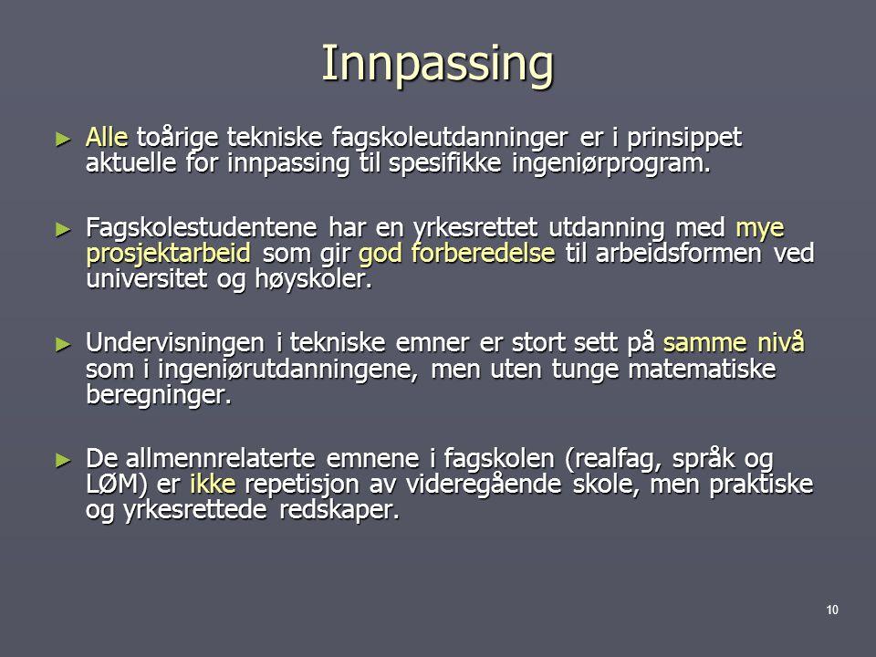 Innpassing ► Alle toårige tekniske fagskoleutdanninger er i prinsippet aktuelle for innpassing til spesifikke ingeniørprogram.