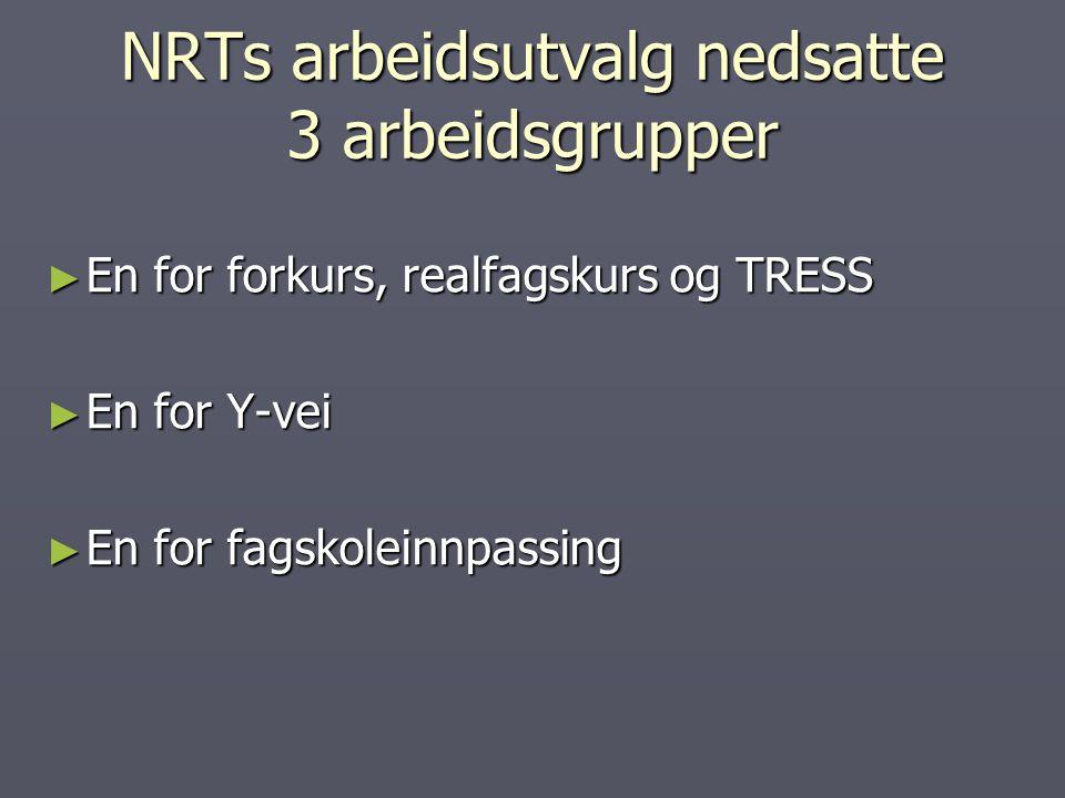 NRTs arbeidsutvalg nedsatte 3 arbeidsgrupper ► En for forkurs, realfagskurs og TRESS ► En for Y-vei ► En for fagskoleinnpassing