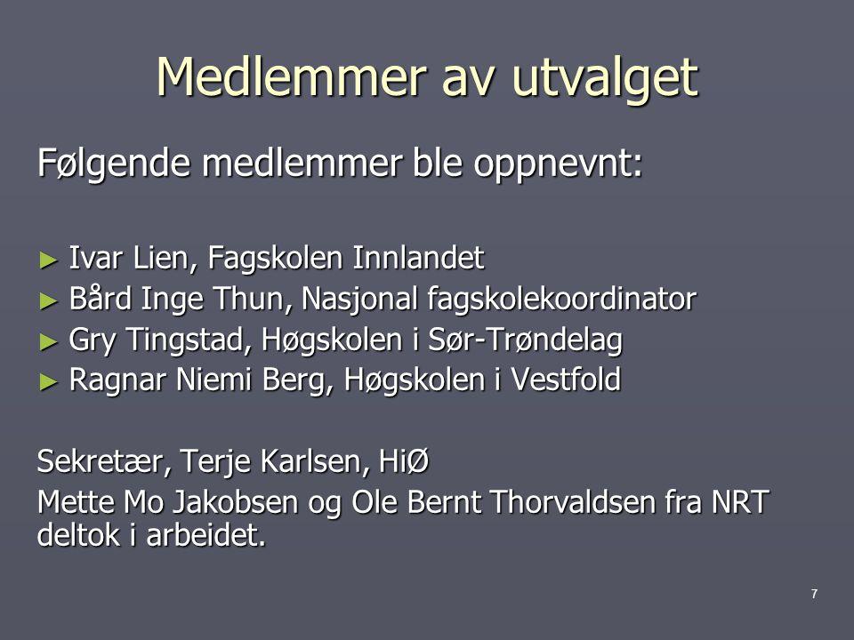 Medlemmer av utvalget Følgende medlemmer ble oppnevnt: ► Ivar Lien, Fagskolen Innlandet ► Bård Inge Thun, Nasjonal fagskolekoordinator ► Gry Tingstad, Høgskolen i Sør-Trøndelag ► Ragnar Niemi Berg, Høgskolen i Vestfold Sekretær, Terje Karlsen, HiØ Mette Mo Jakobsen og Ole Bernt Thorvaldsen fra NRT deltok i arbeidet.