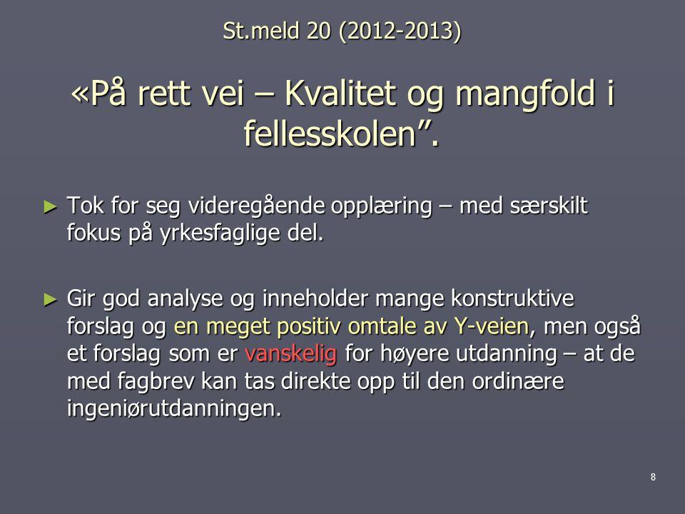 St.meld 20 (2012-2013) «På rett vei – Kvalitet og mangfold i fellesskolen .