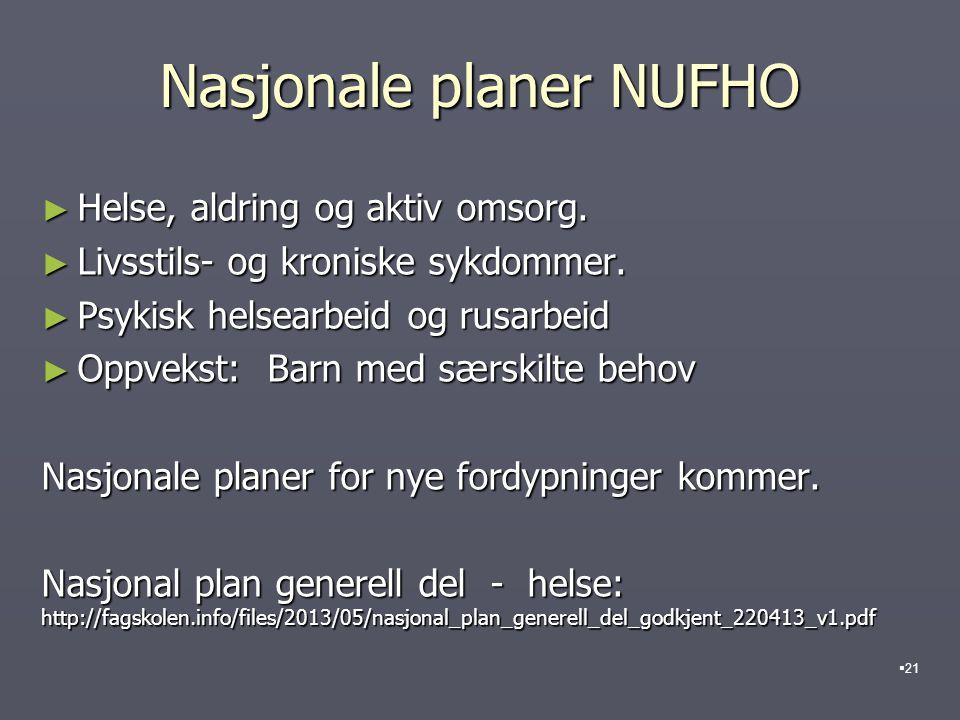 Nasjonale planer NUFHO ► Helse, aldring og aktiv omsorg.