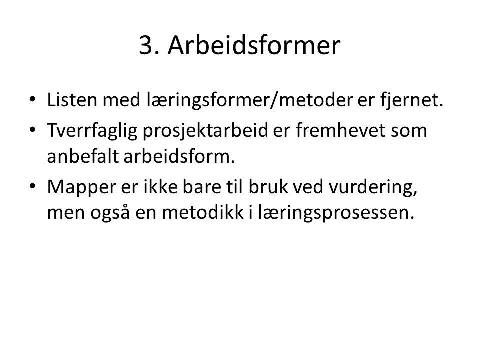 3. Arbeidsformer Listen med læringsformer/metoder er fjernet.