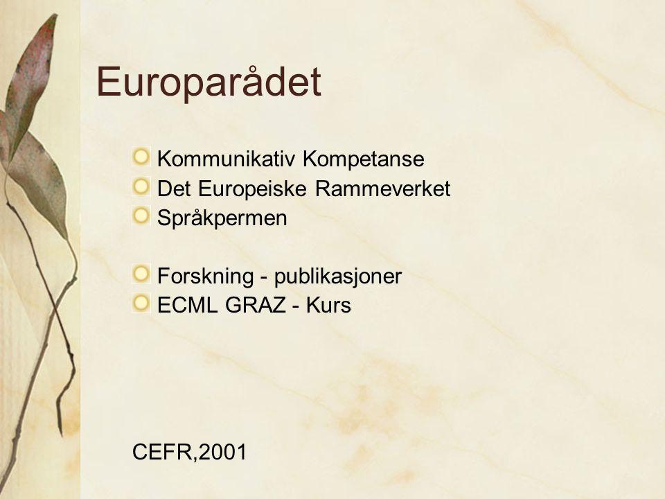 Europarådet Kommunikativ Kompetanse Det Europeiske Rammeverket Språkpermen Forskning - publikasjoner ECML GRAZ - Kurs CEFR,2001