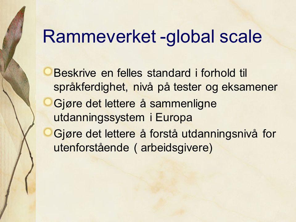Rammeverket -global scale Beskrive en felles standard i forhold til språkferdighet, nivå på tester og eksamener Gjøre det lettere å sammenligne utdanningssystem i Europa Gjøre det lettere å forstå utdanningsnivå for utenforstående ( arbeidsgivere)