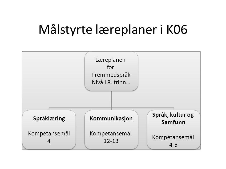 Læreplaner i forsøket Læreplanen for Fremmedspråk 6.-7.