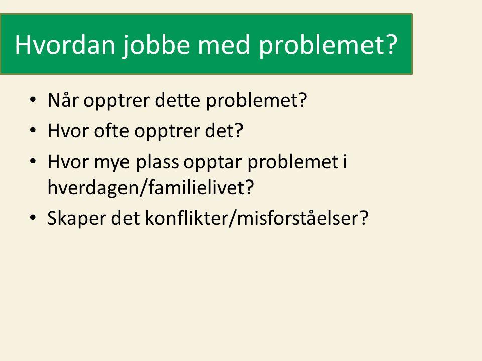 Hvordan jobbe med problemet? Når opptrer dette problemet? Hvor ofte opptrer det? Hvor mye plass opptar problemet i hverdagen/familielivet? Skaper det
