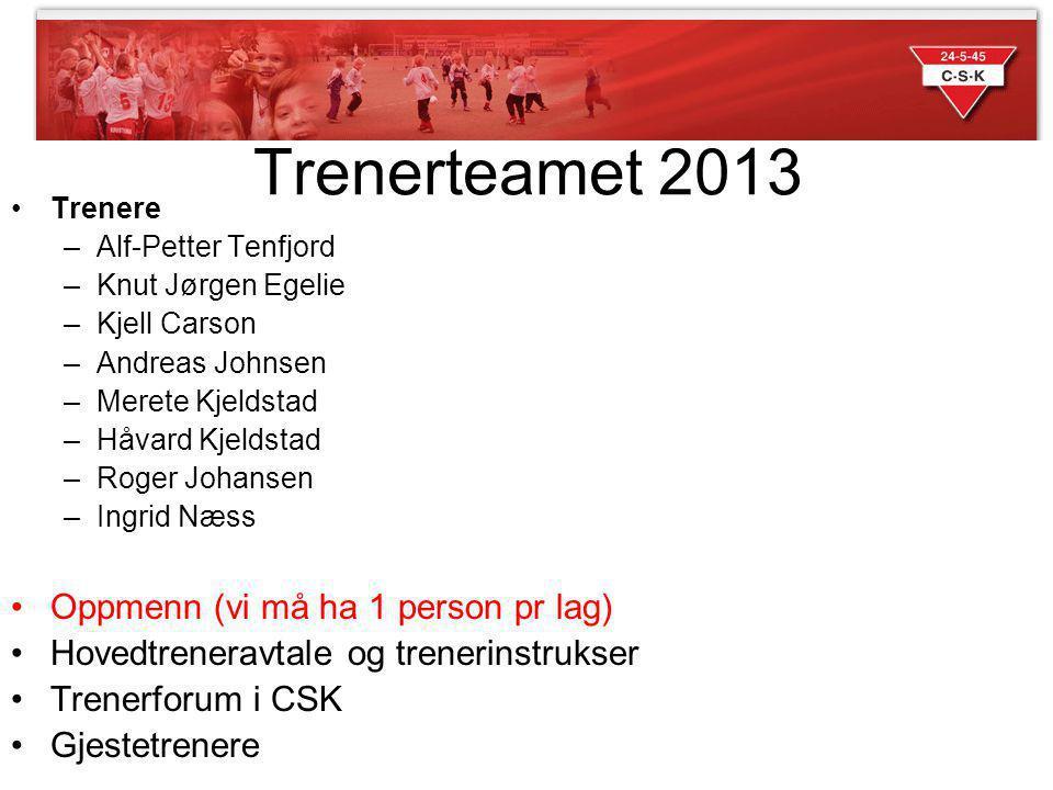 Trenerteamet 2013 Trenere –Alf-Petter Tenfjord –Knut Jørgen Egelie –Kjell Carson –Andreas Johnsen –Merete Kjeldstad –Håvard Kjeldstad –Roger Johansen