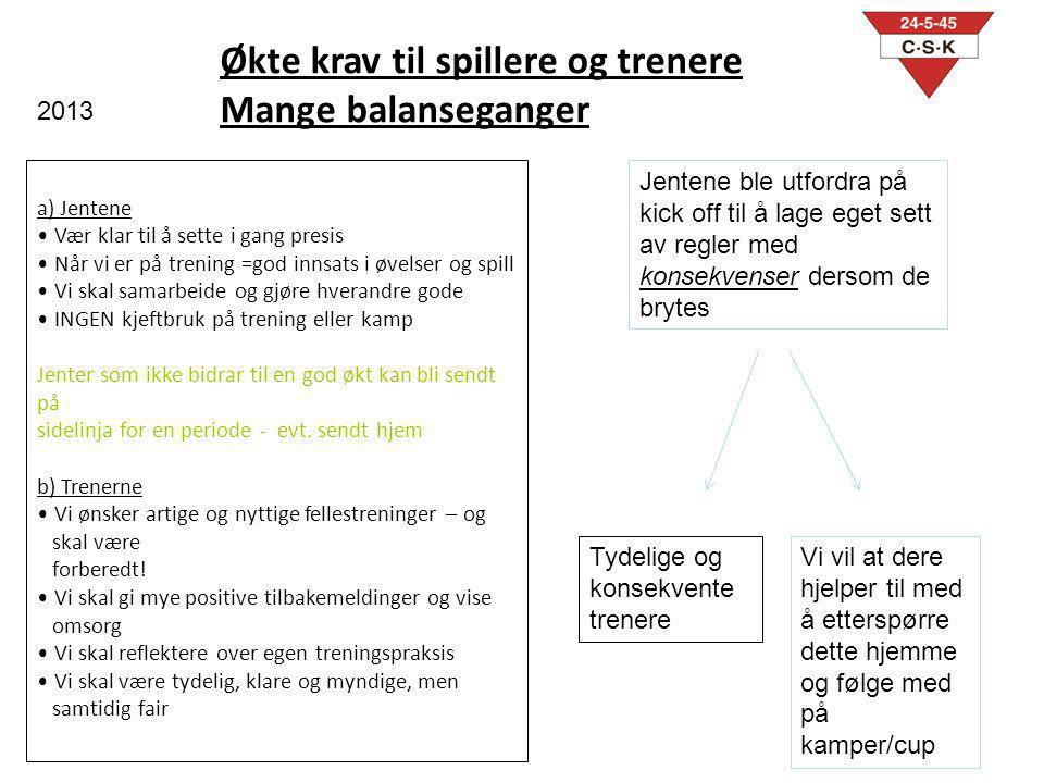 Økte krav til spillere og trenere Mange balanseganger a) Jentene Vær klar til å sette i gang presis Når vi er på trening =god innsats i øvelser og spi