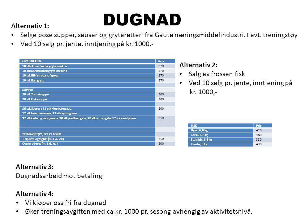 DUGNAD Alternativ 1: Selge pose supper, sauser og gryteretter fra Gaute næringsmiddelindustri.+ evt. treningstøy Ved 10 salg pr. jente, inntjening på