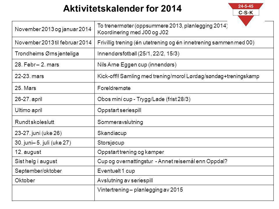 November 2013 og januar 2014 To trenermøter (oppsummere 2013, planlegging 2014) Koordinering med J00 og J02 November 2013 til februar 2014Frivillig tr