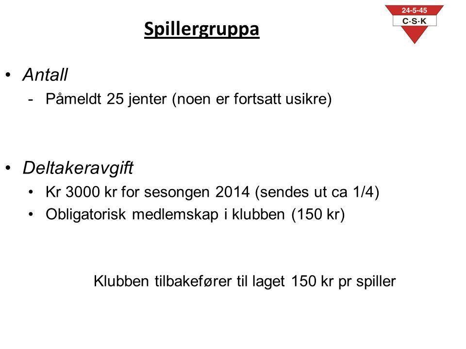 Spillergruppa Antall -Påmeldt 25 jenter (noen er fortsatt usikre) Deltakeravgift Kr 3000 kr for sesongen 2014 (sendes ut ca 1/4) Obligatorisk medlemsk