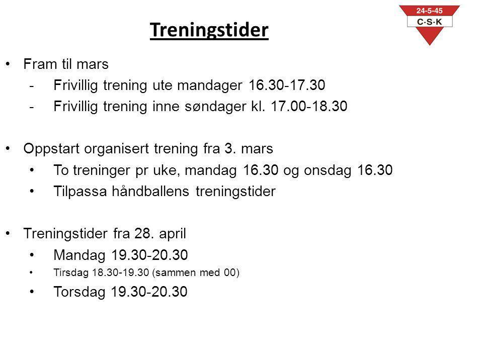 Treningstider Fram til mars -Frivillig trening ute mandager 16.30-17.30 -Frivillig trening inne søndager kl. 17.00-18.30 Oppstart organisert trening f