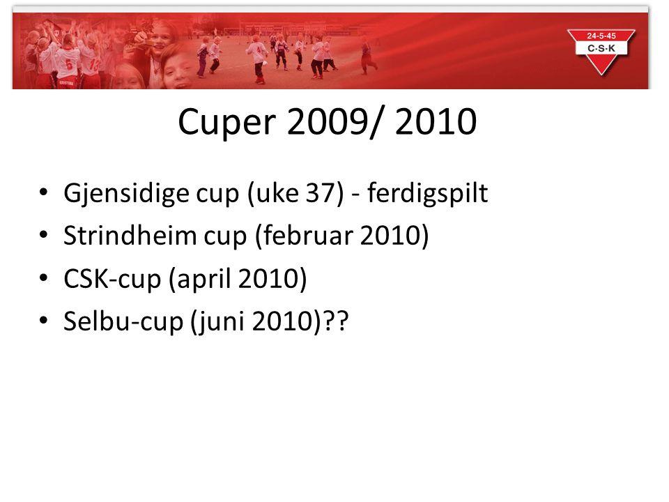 Cuper 2009/ 2010 Gjensidige cup (uke 37) - ferdigspilt Strindheim cup (februar 2010) CSK-cup (april 2010) Selbu-cup (juni 2010)??