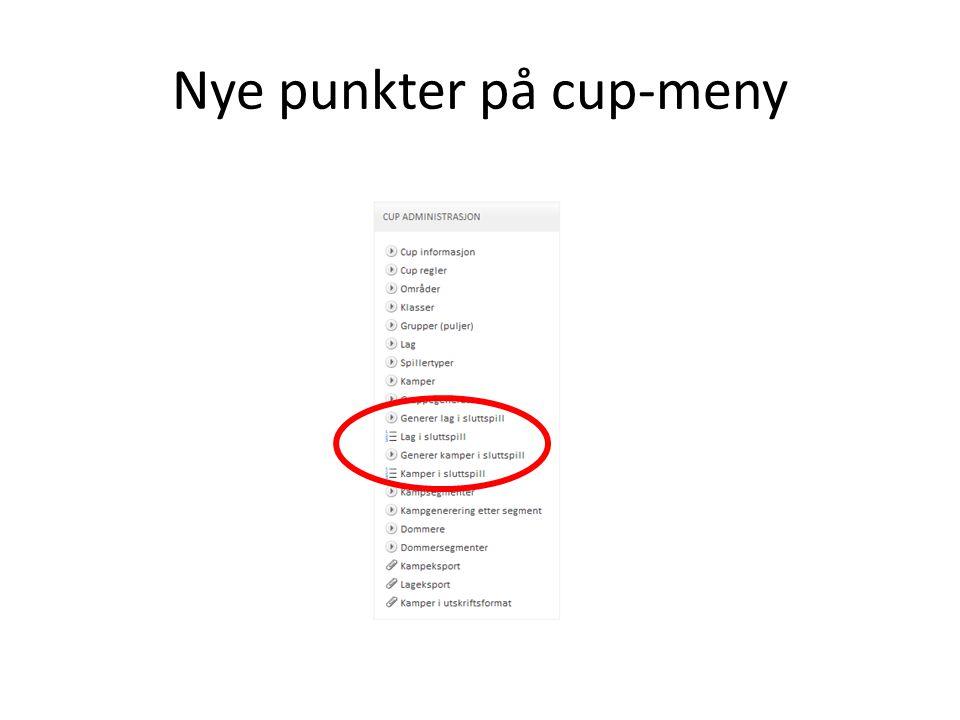 Nye punkter på cup-meny