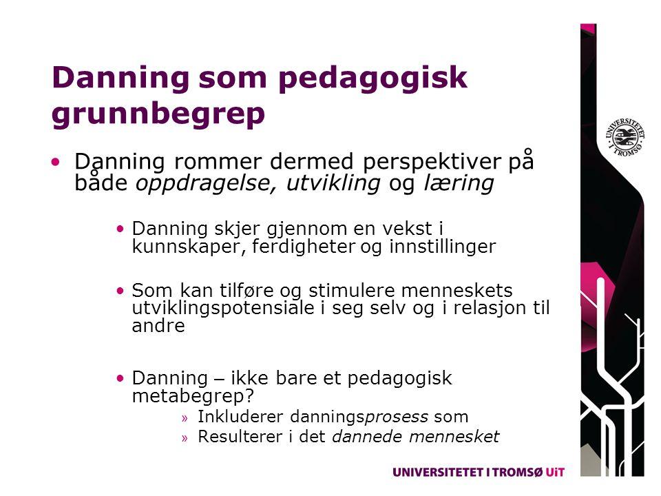 Danning som pedagogisk grunnbegrep Danning rommer dermed perspektiver på både oppdragelse, utvikling og læring Danning skjer gjennom en vekst i kunnsk