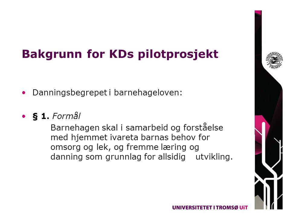 Bakgrunn for KDs pilotprosjekt Danningsbegrepet i barnehageloven: § 1. Formål Barnehagen skal i samarbeid og forståelse med hjemmet ivareta barnas beh