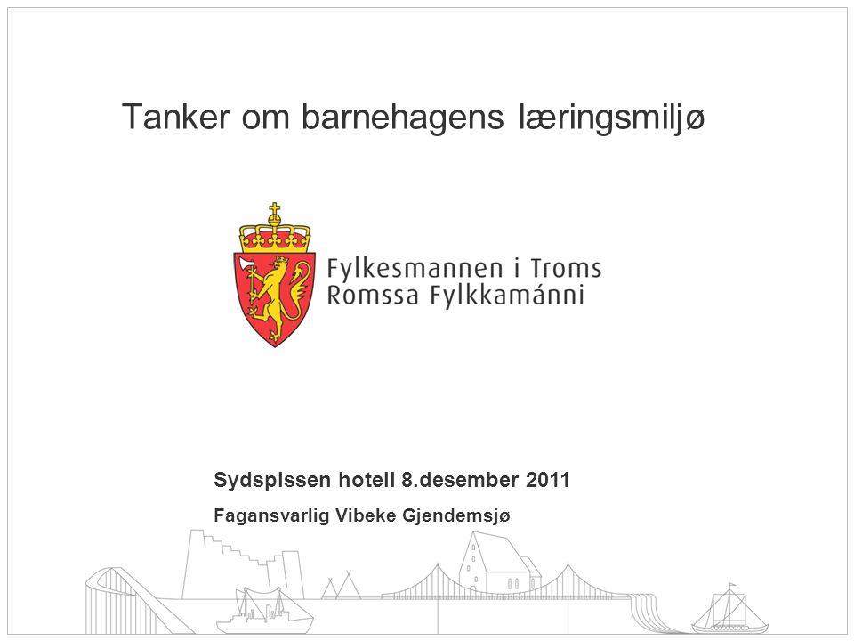 Sydspissen hotell 8.desember 2011 Fagansvarlig Vibeke Gjendemsjø Tanker om barnehagens læringsmiljø