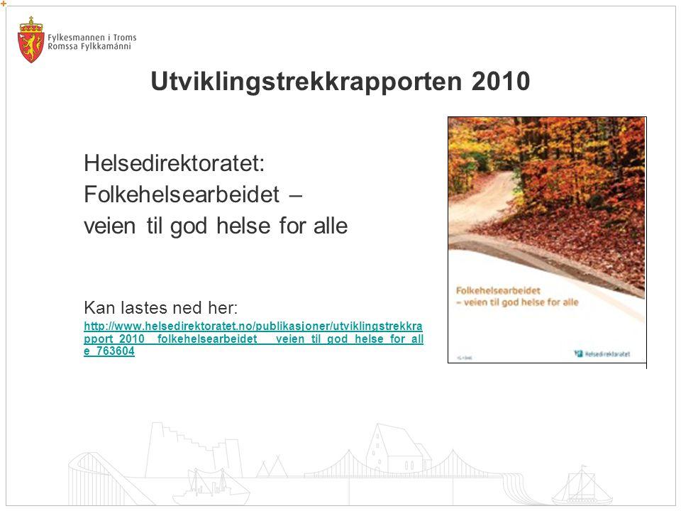 Utviklingstrekkrapporten 2010 Helsedirektoratet: Folkehelsearbeidet – veien til god helse for alle Kan lastes ned her: http://www.helsedirektoratet.no/publikasjoner/utviklingstrekkra pport_2010__folkehelsearbeidet___veien_til_god_helse_for_all e_763604