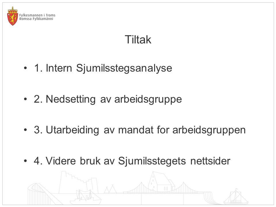Tiltak 1. Intern Sjumilsstegsanalyse 2. Nedsetting av arbeidsgruppe 3.