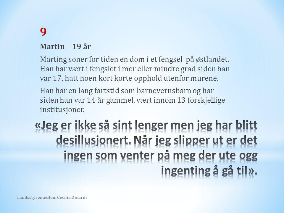 9 Martin – 19 år Marting soner for tiden en dom i et fengsel på østlandet.