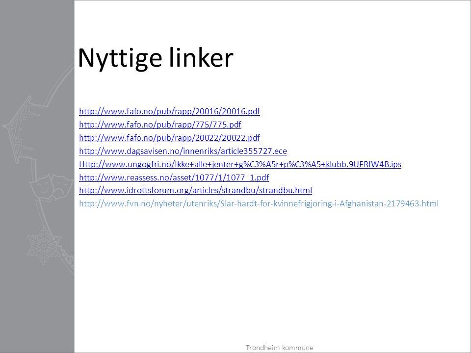 Nyttige linker http://www.fafo.no/pub/rapp/20016/20016.pdf http://www.fafo.no/pub/rapp/775/775.pdf http://www.fafo.no/pub/rapp/20022/20022.pdf http://