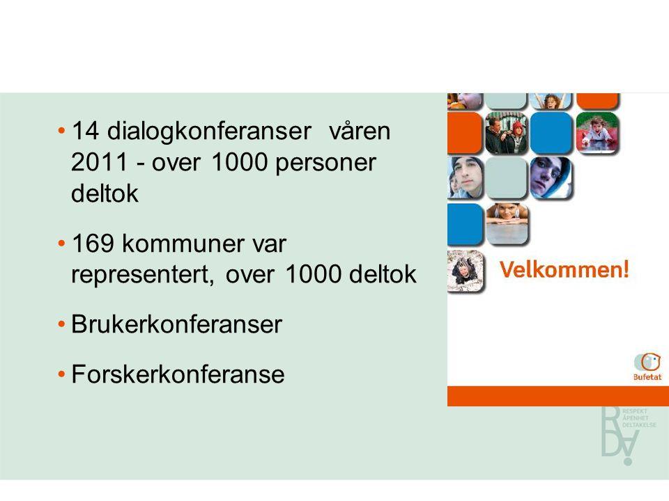 14 dialogkonferanser våren 2011 - over 1000 personer deltok 169 kommuner var representert, over 1000 deltok Brukerkonferanser Forskerkonferanse