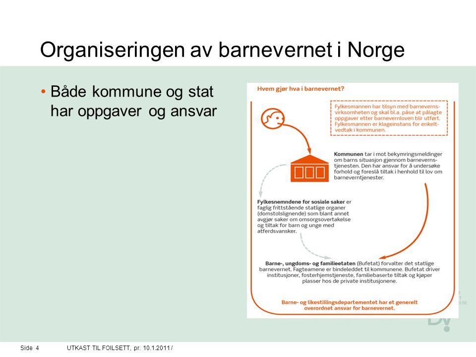 Organiseringen av barnevernet i Norge Både kommune og stat har oppgaver og ansvar Side 4UTKAST TIL FOILSETT, pr. 10.1.2011 /