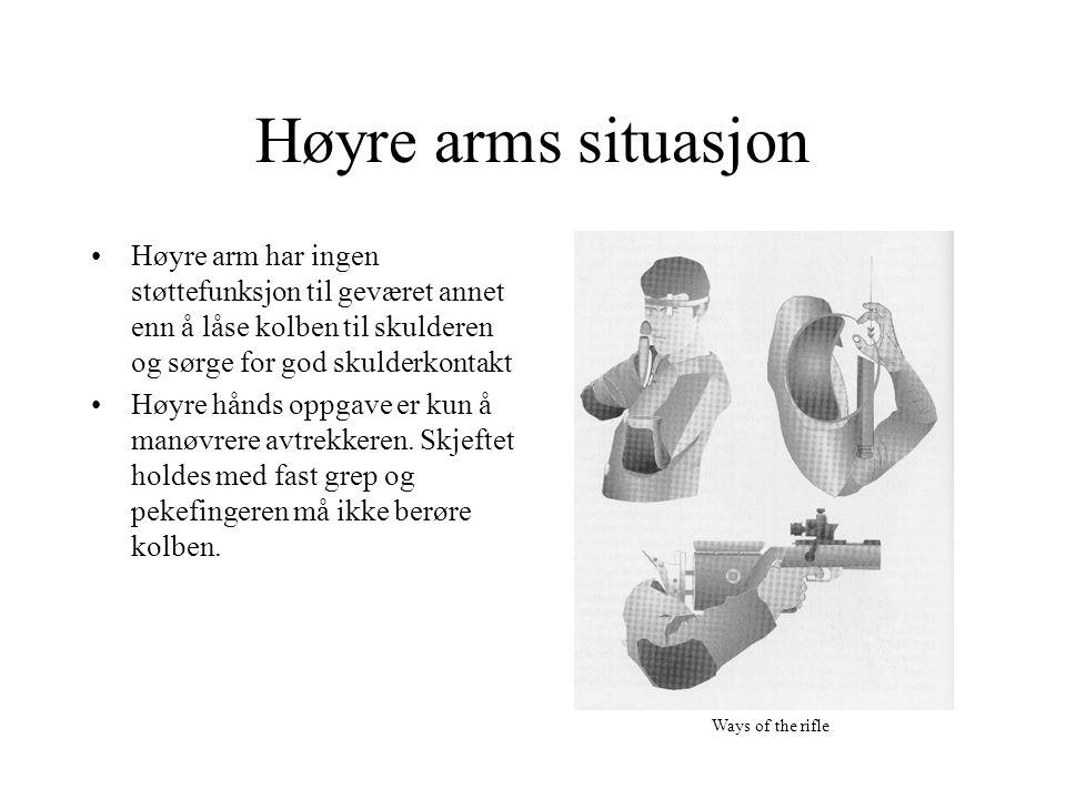 Høyre arms situasjon Høyre arm har ingen støttefunksjon til geværet annet enn å låse kolben til skulderen og sørge for god skulderkontakt Høyre hånds