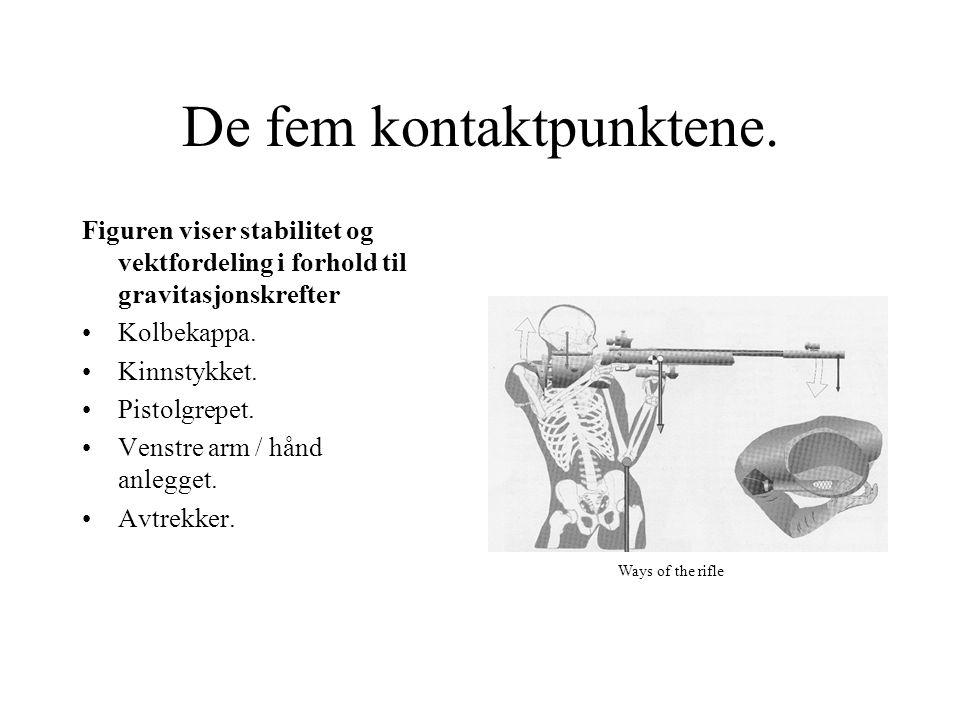 De fem kontaktpunktene. Figuren viser stabilitet og vektfordeling i forhold til gravitasjonskrefter Kolbekappa. Kinnstykket. Pistolgrepet. Venstre arm