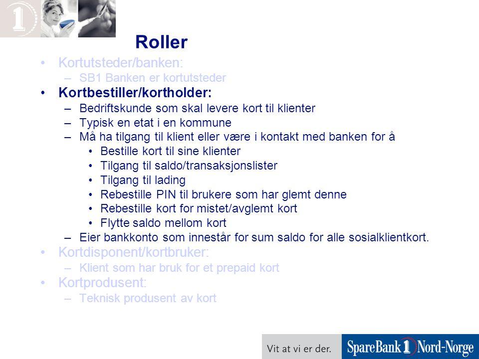 Roller Kortutsteder/banken: –SB1 Banken er kortutsteder Kortbestiller/kortholder: –Bedriftskunde som skal levere kort til klienter –Typisk en etat i e