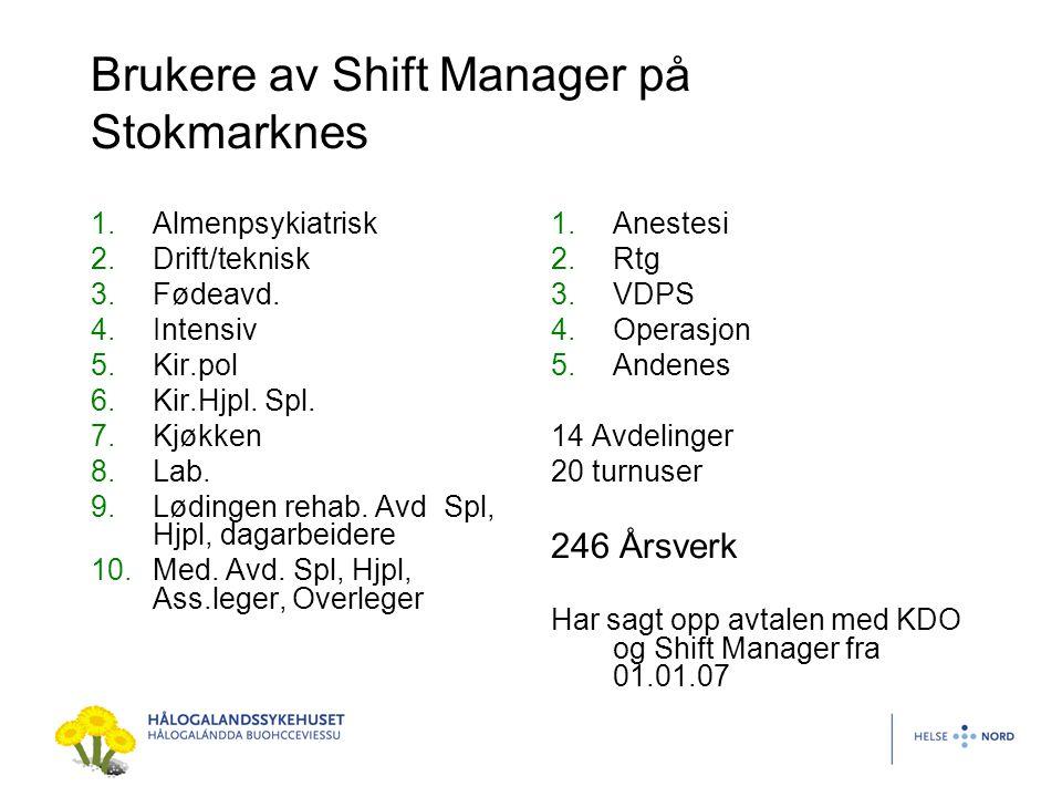 Brukere av Shift Manager på Stokmarknes 1.Almenpsykiatrisk 2.Drift/teknisk 3.Fødeavd. 4.Intensiv 5.Kir.pol 6.Kir.Hjpl. Spl. 7.Kjøkken 8.Lab. 9.Lødinge
