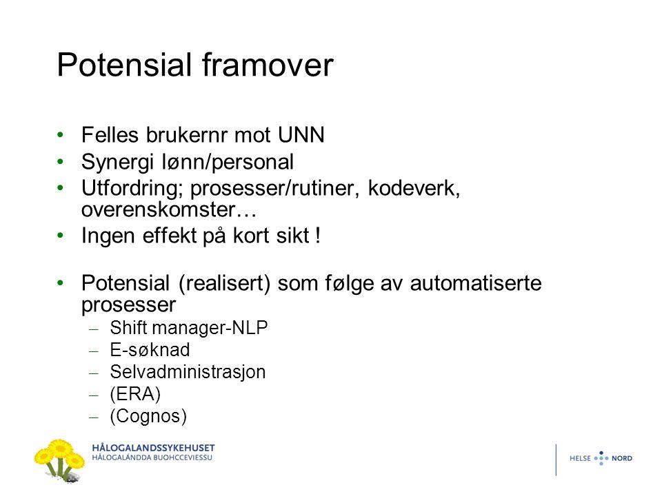 Potensial framover Felles brukernr mot UNN Synergi lønn/personal Utfordring; prosesser/rutiner, kodeverk, overenskomster… Ingen effekt på kort sikt !