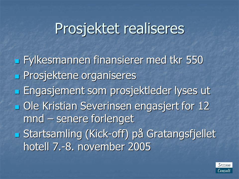 Prosjektet realiseres Fylkesmannen finansierer med tkr 550 Fylkesmannen finansierer med tkr 550 Prosjektene organiseres Prosjektene organiseres Engasjement som prosjektleder lyses ut Engasjement som prosjektleder lyses ut Ole Kristian Severinsen engasjert for 12 mnd – senere forlenget Ole Kristian Severinsen engasjert for 12 mnd – senere forlenget Startsamling (Kick-off) på Gratangsfjellet hotell 7.-8.