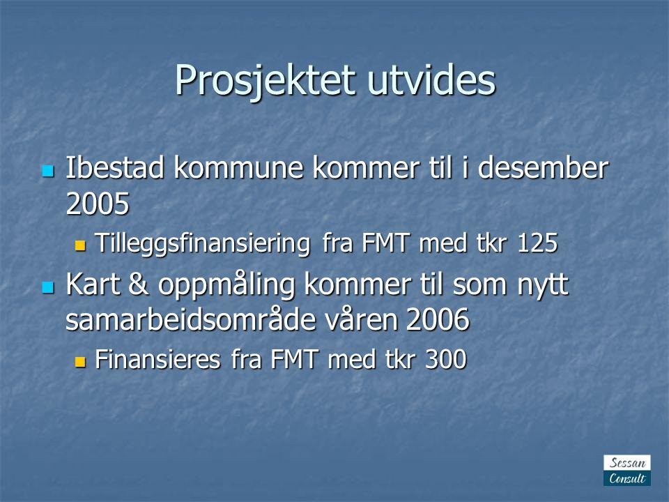Prosjektet utvides Ibestad kommune kommer til i desember 2005 Ibestad kommune kommer til i desember 2005 Tilleggsfinansiering fra FMT med tkr 125 Tilleggsfinansiering fra FMT med tkr 125 Kart & oppmåling kommer til som nytt samarbeidsområde våren 2006 Kart & oppmåling kommer til som nytt samarbeidsområde våren 2006 Finansieres fra FMT med tkr 300 Finansieres fra FMT med tkr 300
