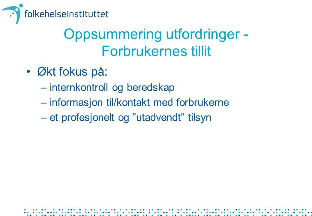Oppsummering utfordringer - Forbrukernes tillit Økt fokus på: –internkontroll og beredskap –informasjon til/kontakt med forbrukerne –et profesjonelt og utadvendt tilsyn