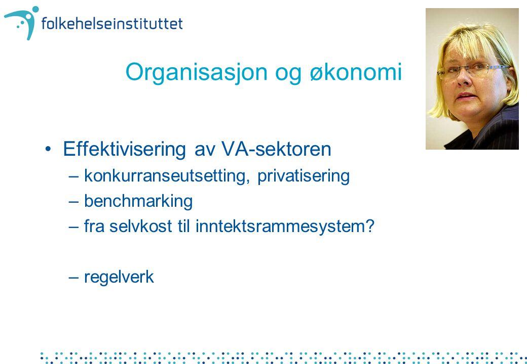 Organisasjon og økonomi Effektivisering av VA-sektoren –konkurranseutsetting, privatisering –benchmarking –fra selvkost til inntektsrammesystem.