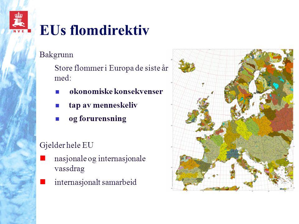 EUs flomdirektiv Bakgrunn Store flommer i Europa de siste år med: n økonomiske konsekvenser n tap av menneskeliv n og forurensning Gjelder hele EU nna