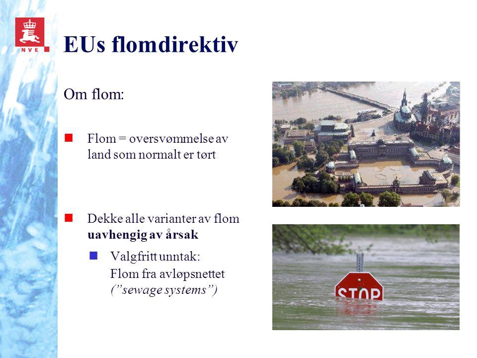 EUs flomdirektiv Om flom: nFlom = oversvømmelse av land som normalt er tørt nDekke alle varianter av flom uavhengig av årsak nValgfritt unntak: Flom f