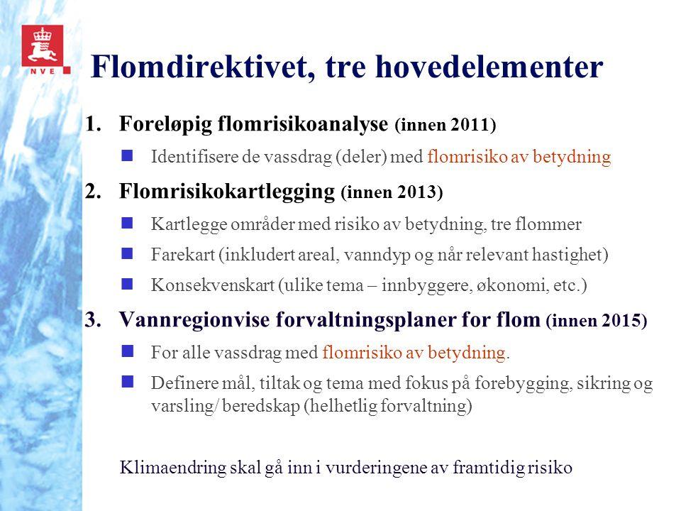 Flomdirektivet, tre hovedelementer 1.Foreløpig flomrisikoanalyse (innen 2011) nIdentifisere de vassdrag (deler) med flomrisiko av betydning 2.Flomrisi